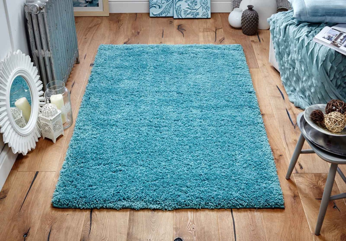 Teal Shaggy Rug